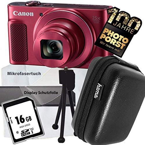 1A Photo PORST Jubiläums Angebot Canon PowerShot SX620 HS Rot+Ministativ+Display-Schutzfolie+SD 16 GB Speicherkarte+Tasche+Mikrofasertuch