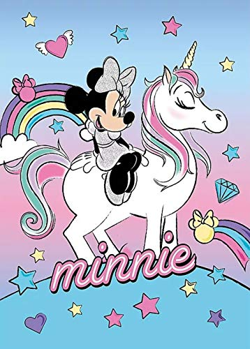 Faro Coperta Invernale Plaid Minnie E Unicorno Disney in Pail CM. 100x140