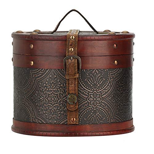 Opbergdoos voor sieraden van hout, vintage, multifunctioneel, ronde thee-organizer voor horloges, ringen, armbanden, halskettingen, spelden