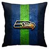 Team ProMark Seattle Seahawks Throw Pillow Cover,American Football Design Square Pillows Decoration Cushion Case for Outdoor Patio Furniture Set18X 18 Inches