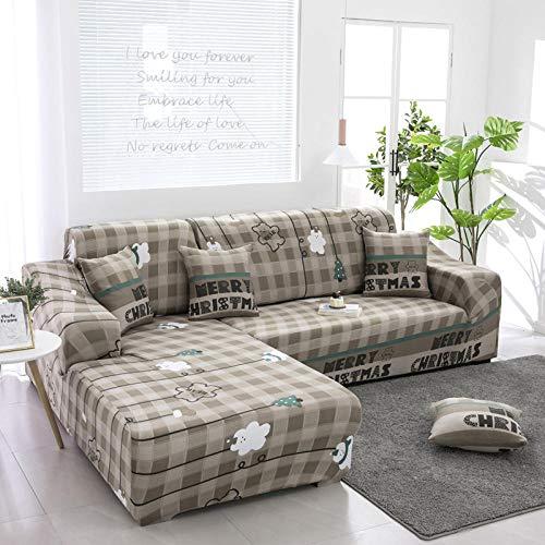 Funda de Sofá Elástica Funda Sofá Gruesa Antideslizante, Cubierta Sofa Muebles con Cuerda de Fijación Antideslizante Protector de Muebles (Oso Blanco con Hojas, Gris, 4 Plazas )