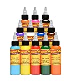 Eternal Authentic Tattoo Ink 12 Color Sample Set- 1/2 oz