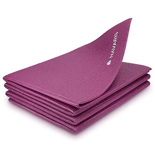 Navaris Tappetino Yoga Pieghevole Anti-Scivolo - Tappeto Sottile 4mm in Morbido Memory-Foam - Ginnastica o Esercizi Pilates in Viaggio Parco Palestra