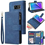CHICASE Wallet Case for Galaxy Note 5,Samsung Note 5 Case,Leather Handbag Zipper Pocket Card Holder Slots Wrist Strap Flip Protective Phone Cover for Samsung Galaxy Note 5(Blue)
