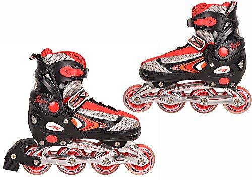 NILS Inline-Skates Inlineskates Skates Rollschuhe Rucksack verstellbar 29-32 33-36 37-40 40-43 PW-126B Rosa Rot Schwarz (Rot, 33-36)
