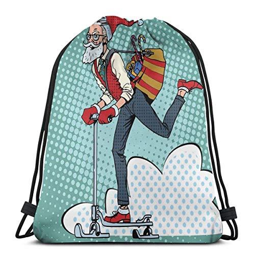 Bolsa de deporte con cordón para gimnasio, cincha de viaje, para mujeres, hombres, niños, paisajes de arte pop con hipster Santa Claus en scooter con bolsa de regalo temática de Navidad