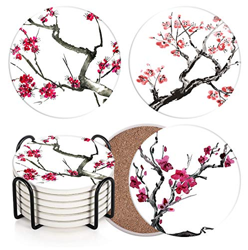 Britimes Set of 6 Coasters for Drinks Absorbent Watercolor Plum with Cork Base, Metal Holder, Round Stone Drink Mat for Wood Table, Gift for Birthday, Housewarming Room Bar Decor