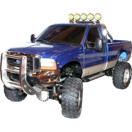 TAMIYA 1:10 RC Ford F-350 HighLift 4x4 3-Gang - ferngesteuertes Auto - inkl. Surfbrett - Offroad - Pick Up Truck -Elektromotor - Modellbausatz - Metallgetriebe - unlackiert - 58372