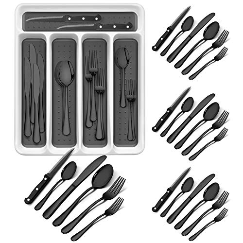 RayPard 24-Piece Silverware Set, Flatware Set Mirror Polished, Dishwasher Safe Service for 4, Include Fork/Spoon with 5-Compartment Non Slip Silverware Drawer Organizer Box Tray (Black)