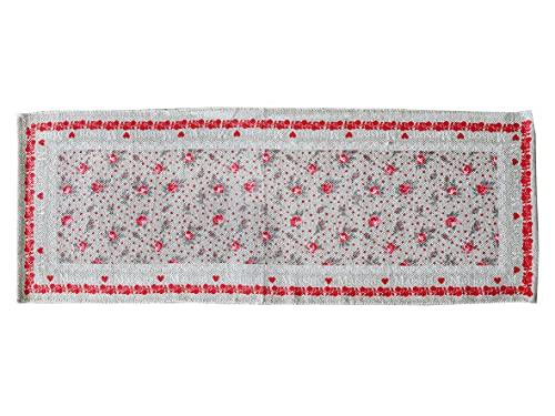 Tappeto Antiscivolo Cucina, Passatoia Cucina 50x135 cm, Lavabile in Lavatrice, Motivo Maison D'Etè, Disegno Rose Rosse