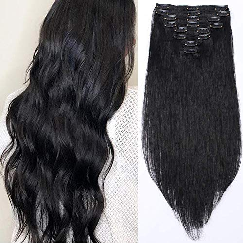 Clip in Extensions Echthaar Haarverlängerung Haarteil Doppelt 8 Tressen hitzebeständig glatt Schwarz#1 14