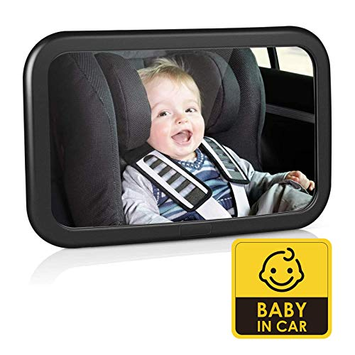 Amzdeal Espejo Retrovisor de Coche para Bebé - Espejo para Asientos Traseros para Vigilar el Bebé, 360°Ajustable & Perfecta Imagen, 100% Inastillable, Fácil Instalación y Buena Sistema de Sujeción
