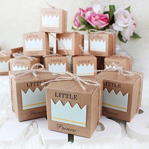 Veewon - Confezione da 50 scatole per bomboniere, in carta kraft, stile rustico, per matrimoni, feste di compleanno (blu)
