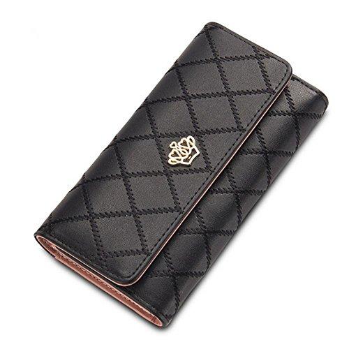 TNGXXWL Damen Geldbörse aus PU-Leder mit Clutch (Black, 长度19cm*宽10cm*厚度2.5cm)