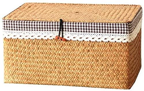 YQZX Cesta de Almacenamiento Cesta de Almacenamiento de Mimbre Tejida de bambú Estante de Almacenamiento Caja de Almacenamiento de bocadillos de Escritorio Cesta de Almacenamiento Tejida con Tapa,L