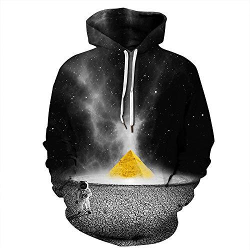 DerDer - Sudadera con capucha para hombre y mujer (impresión digital, 3D, bolsillo canguro, manga larga, con capucha, para hombre y mujer Pirámide negra XS