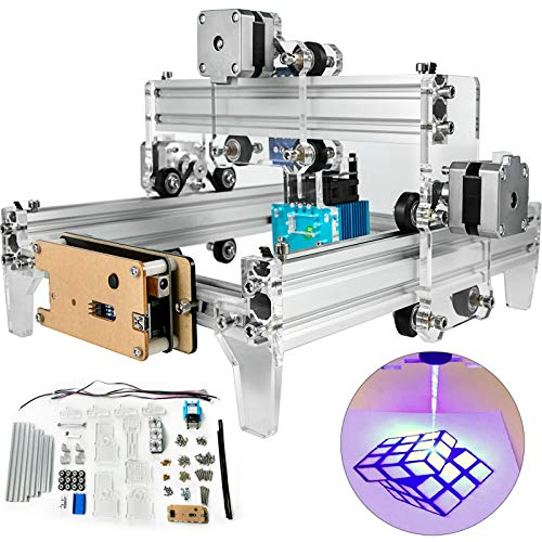 VEVOR CNC Router Kit 15W CNC CNC Machine 24x19cm Laser Carving Machine Portable Household Laser Engraver with Protective Glasses and USB Cable for Diy Art Craft Wood Leather Plastic