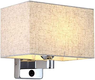 CCSUN E26 Modern Wall Lamps Bedroom,Rectangular Cloth lampshade Iron Base Wall Sconce Lighting for Bedside Office-A