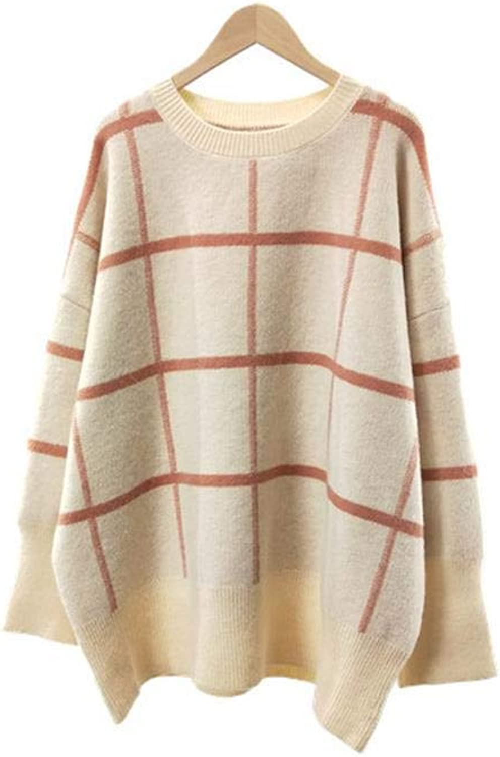 Roohb Autumn Winter Women's Knit Loose Plaid Soft Sweater