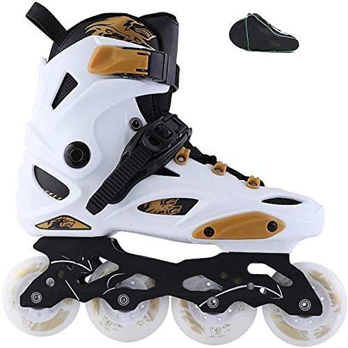CAIFENG Inline Skates, Adult Beginners Inline Skates Detachable Alloy Knife Holder Black, White,Size:36 EU/4.5 US/3.5 UK/23cm JP,Color:White (Color : White, Size : 42 EU/9 US/8 UK/26cm JP)