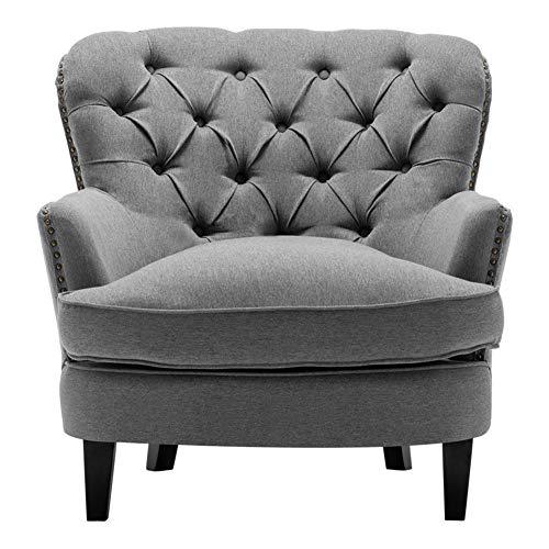Warmiehomy - Sillón de tela ocasional con botones, con patas de madera maciza, para sala de estar, dormitorio, recepción o conservatorio, tela, Gris, W81 X D80 X H82 cm