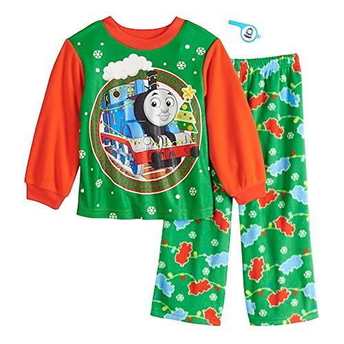 AME Toddler Boy Thomas Christmas Holiday Pajama Top and Bottom Fleece PJ Set (3T) Red