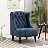 Artechworks Tufted High Back Accent Chair, Wingback Club Chair Sofa for Reading Living Room, Bedroom, Office, Hosting Room, Blue