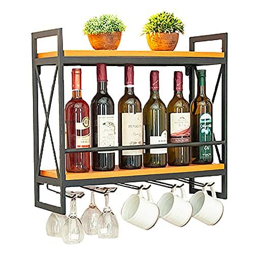 Baldas flotantes Estante de vino de la estante de la pared, marco nórdico de hierro forjado + vino de pared laminado laminado de madera maciza (80x20x54cm), rack de almacenamiento de vidrio de vino al