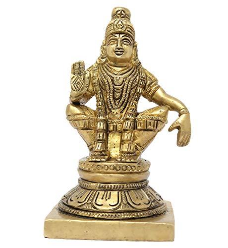 Pink Peony Hindu God Ayyappa Brass Statue Murti for Home Decor 1 KG