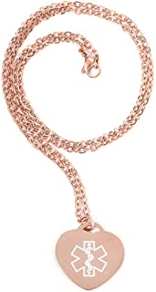 """BBX JEWELRY Custom Rose Gold Heart Medical Alert ID Necklace for Women Girls Free Engraving Chain 22"""""""