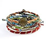 Wakami Earth Charm Bracelet Set of 7 | Handmade Boho Jewelry for Womens & Mens | EARTH | Braided, Waterproof, Stackable Bracelets | Sliding closure on 3 strands, and button closure on 4 strands