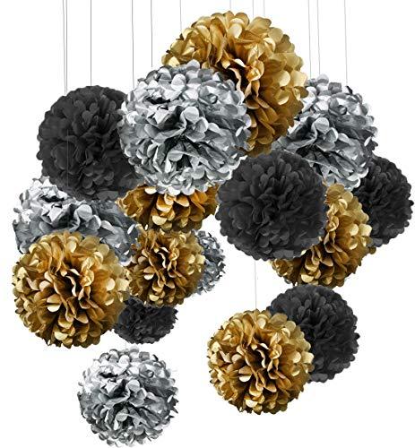15er Set Pompoms Deko Bunt Seidenpapier Pompons für Hochzeit, Geburtstag, Party Gold Schwarz Silber(3pcs*30.5cm/6pcs*25cm/6pcs*15.5cm) …