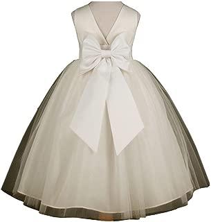 Pink Promise Flower Girl's Ivory Wedding Pageant V-Back Ankle Length Dress