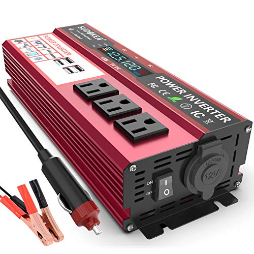 SUDOKEJI 800W/2000W car Power Inverter DC 12V to AC 120V Home Portable car Converter, car Adapter, with 3AC and 4 2.4A USB Ports and LED Display, Suitable for Trucks and Emergency situations.