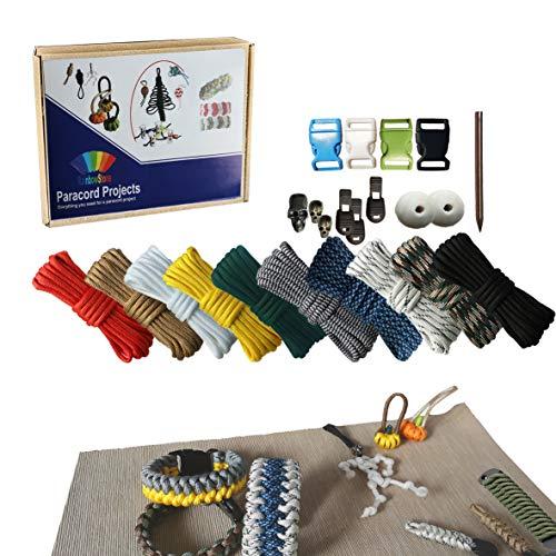 RainbowStone Paracord & Webbing Kit for Bracelet/Anklet/Handle Wrap – 10 * 3m 4mm Cords + Beads + Buckles 24 pcs Set B