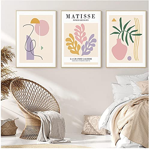 Boho Matisse Carteles e Impresiones Planta Abstracta Flor geométrica Pared Arte Lienzo Pintura Cuadros para Sala de Estar decoración del hogar 19.7x27.6in (50x70cm) x3pcs sin Marco