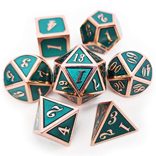 Haxtec Metal DND Dice Set 7PCS for D&D Dungeons and Dragons Roleplaying Tabletop Games (Copper Teal)