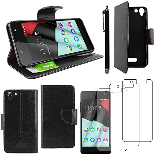 ebestStar - kompatibel mit Wiko Selfy 4G Hülle Kunstleder Wallet Case Handyhülle [PU Leder], Kartenfächern, Standfunktion + Stift +3 Schutzfolies, Schwarz [: 141 x 68.4 x 7.7mm, 4.8'']