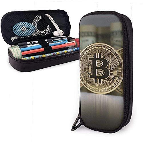 Federmäppchen Dollar Währung und Bitcoin PU Ledertasche Aufbewahrungstaschen Tragbare Bleistiftbeutel Reißverschluss Geldbörsen