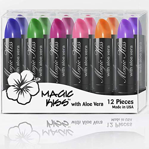 Pack of 12 Magic Kiss Color Changing Aloe Vera Lipstick Set Made in USA (Colors of Aloha 01)