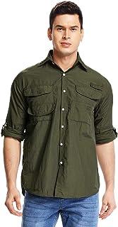 Asfixiado Men's Outdoor UPF 50+ Sun Protection Long Sleeve Shirt Lightweight Quick-Dry Cooling Fishing Shirts