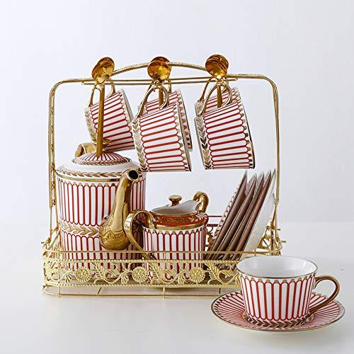MSNLY Einfache europäische Art Titan Gold Bone China Kaffeetasse und Untertasse Englisch Keramik Nachmittagstee rote Teetasse Untertasse Europäische Kaffeetasse Set Tasse Kaffeetasse