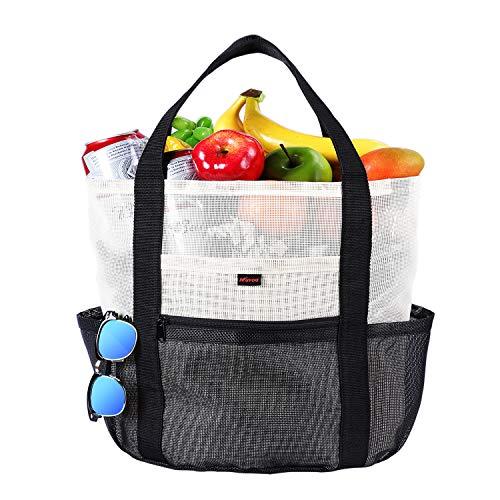 Mesh Strandtasche Einkaufstasche Shopper, Spielzeug Tasche Extra große 35L Lebensmittel Picknick Tasche mit Reißverschluss und 7 Taschen Pool Reise Urlaub Strand Essentials für Frauen und Männer