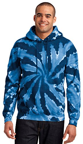 Port & Company Mens Essential Tie-Dye Pullover Hooded Sweatshirt, M, Navy