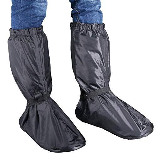 Huihua Black Men Waterproof Rainstorm Rainy Day Rain suit Raingear Motorcycle Outdoor Protective Gear Rain Boot Shoe Cover Zipper US 10 11 Euro 44 45 Black