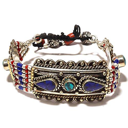 Nepali gioielli di lavoro. Blu turchese, lapislazzuli, rosso corallo braccialetto in argento Sterling Overlay 40grams 7–22,9cm