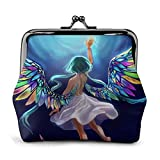 Rainbow Wings Angel Girl Night Sky Bolsa Vintage Girl Kiss-Lock Cambiar Monedero Carteras Hebilla Monederos de Cuero Llave