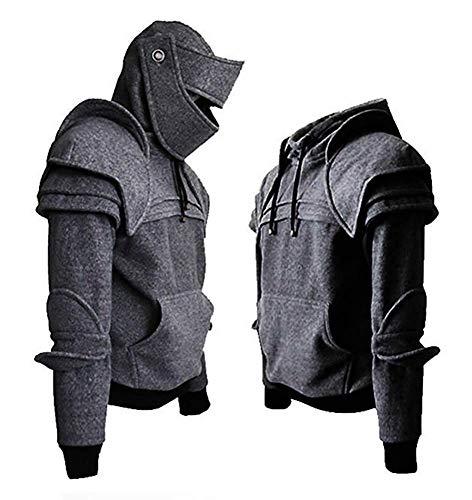 Men Arthur Medieval Knight Armor Hoodie Sweatshirt Pullover (XL, Grey)