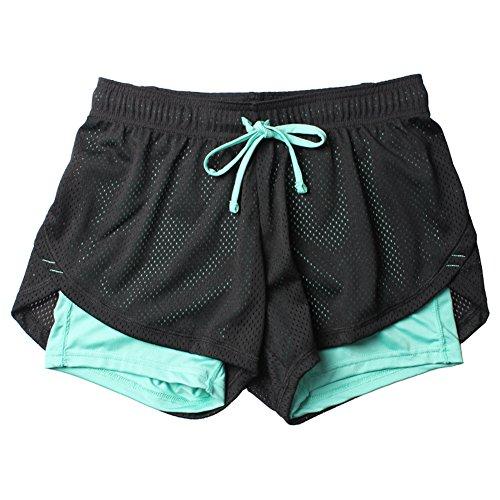Homieco Femmes 2 en 1 Séchage Rapide Shorts de Sport Yoga Fitness Running Gym Élastique Pantalon