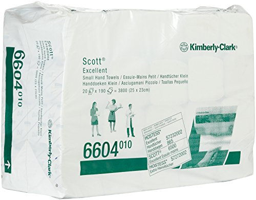 SCOTT* EXCELLENT Interfold-Handtücher 6604 – 190 weiße, 2-lagige Blätter pro Packung (VE mit 20 Packungen)